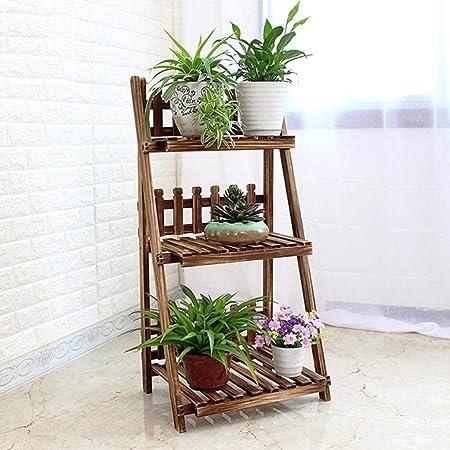 Qonei Escalera de 3 niveles Estantes de flores Estante de plantas de madera Estante de flores
