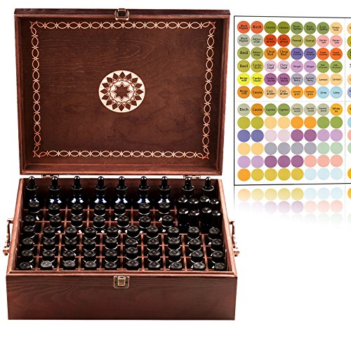 Beautiful Essential Oil Storage Box 77 Bottle - 2 Carry Handles - Holds 5-10-15-30ML & 10ml Rollers - Holds Now 30ml 1oz Bottles with Dropper Tops (Space for 2oz-4oz Bottles) Wooden Oil Case Holder