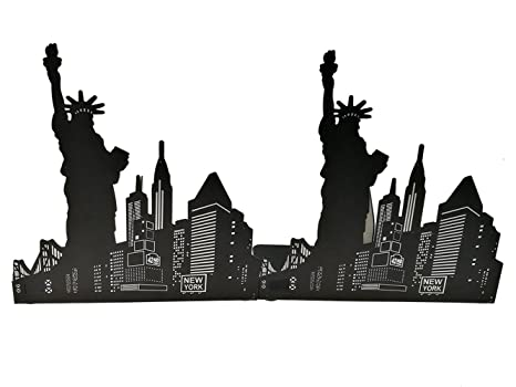 Bellaa 26331 Patriot Bookend Statues of Liberty USA Map Flag 8