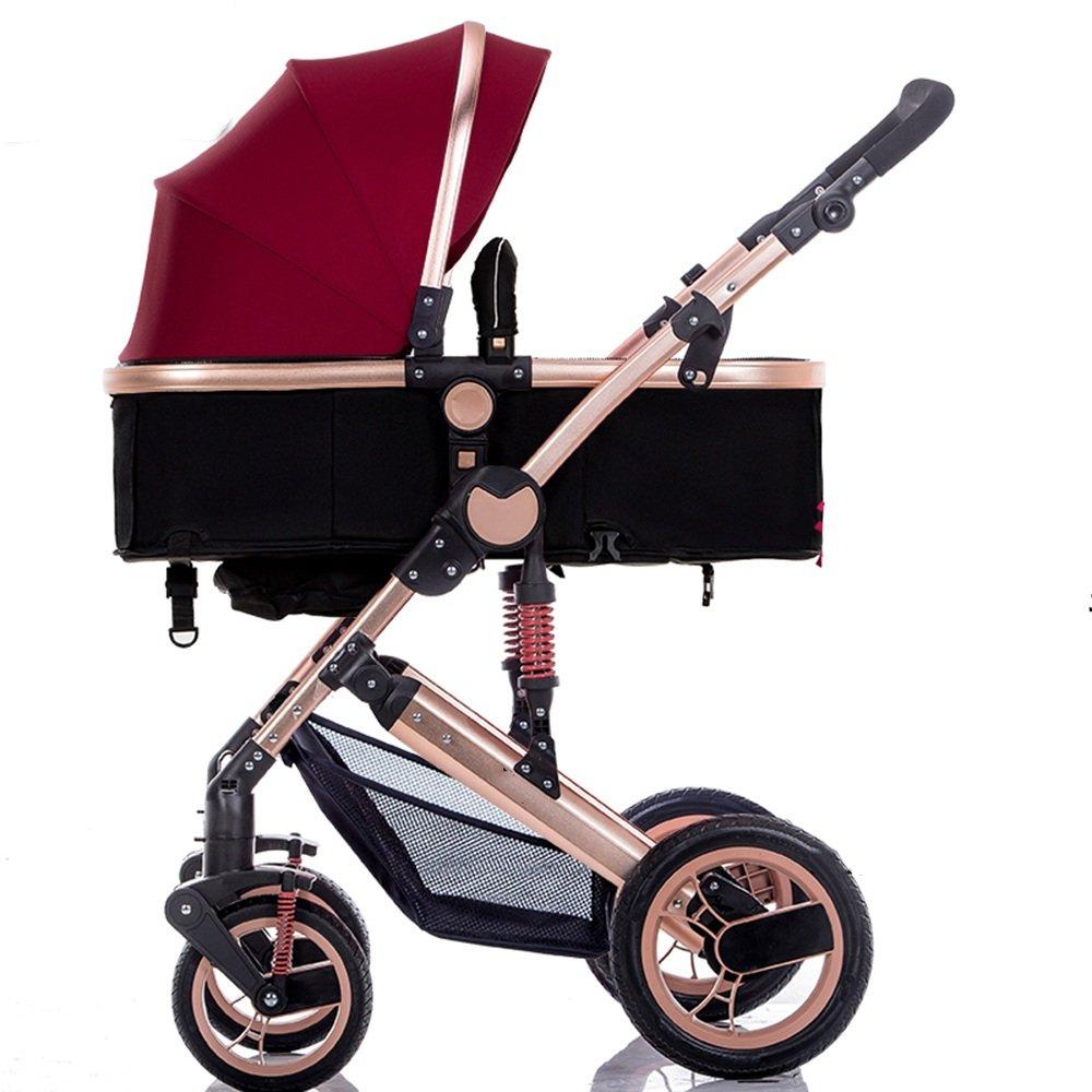 HAIZHEN マウンテンバイク ベビーシッターベビーベビーカー新生児の子供用ベビーカー0-36ヶ月古いベビーカーと耐候カバー 新生児 B07C89FVV1 赤ワイン 赤ワイン