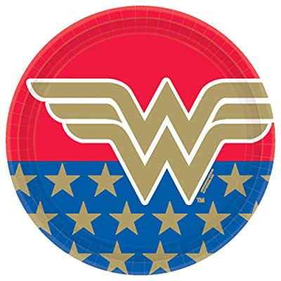 """Wonder Woman Classic"" Round Party Paper Plates 9"", 8 Ct.: Toys & Games"