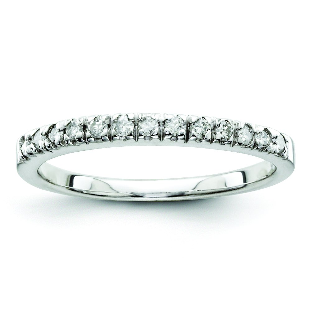 Sterling Silver Diamond Half Eternity Wedding Band for Women Size 7 (0.20ct, H-SI2)