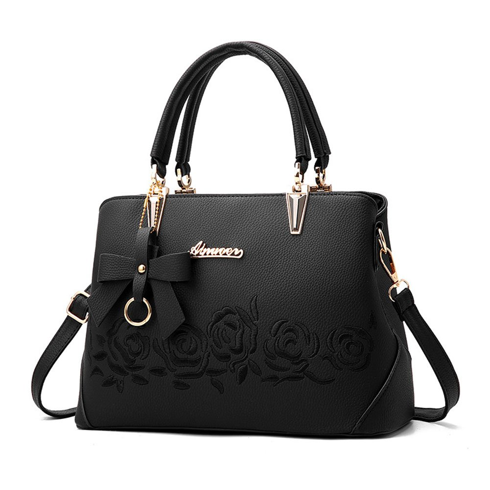 Women Fashion Tote Handbags Shoulder Bags Top Handle Bags for Women Purse with Pendant Black