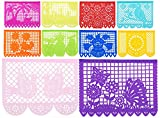 5pk - Beautiful 50 ft Large Strand (250 ft Total) Mexican Tissue Papel Picado Banner ''Primavera De Colores'' - 30 Tissue Multi-Colored Panels - 50 Feet Long - Designs and Colors as Pictured (5pk)
