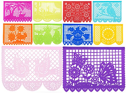 3pk - Beautiful 50ft Large Strand (150ft Total) Mexican Tissue Papel Picado Banner''Primavera De Colores'' - 30 Tissue Multi-Colored Panels - 50 Feet Long Strand - Designs and Colors as Pictured (3pk by Paper Full of Wishes
