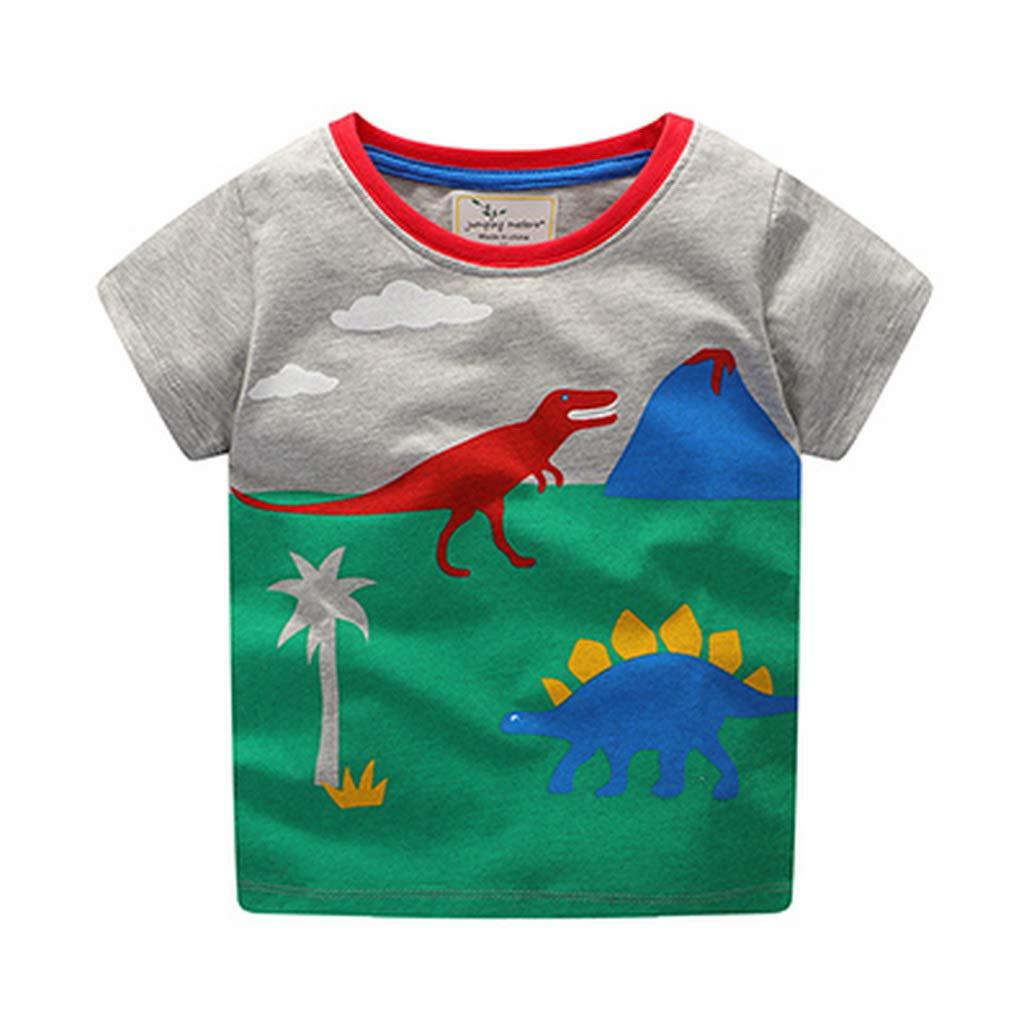 Balialisa Boys T Shirts Cotton Print New Kids Clothes Grey Baby Summer Cartoon Dinosaur Short Sleeve Boy T Shirts