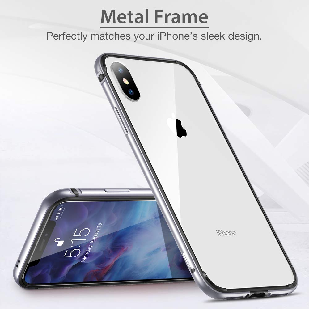 ESR Crown Metal Bumper Case for iPhone X/XS, Metal Frame Armor with Soft Inner Bumper [Zero Signal Interference] [Raised Edge Protection] for iPhone X/XS, Silver