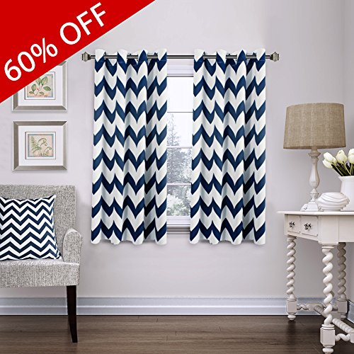 FlamingoP Blackout Energy Efficient Chevron Thermal Insulated Drapes Printed Window Curtains for Living Room, Grommet Top, 2 Panels, W52 x L63 -Inch, Navy (Chevron Navy Curtains)