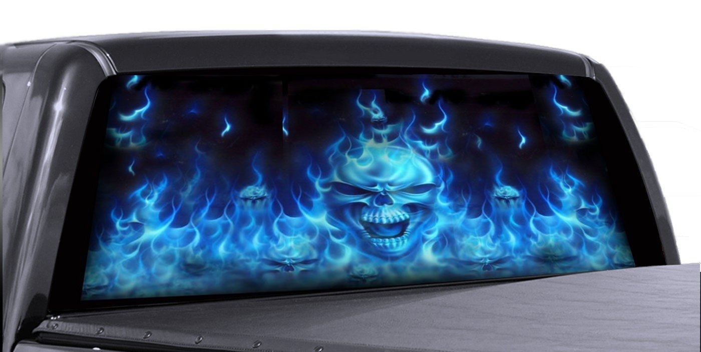 VuScapes - 726-SZD- FLAMING BLUE SKULLS   Rear Window Truck Graphic - decal suv view thru vinyl Graphics Depot