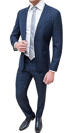 save off 23762 42383 Evoga Abito Completo Uomo Sartoriale Blu Quadri Smoking Vestito Elegante  Cerimonia