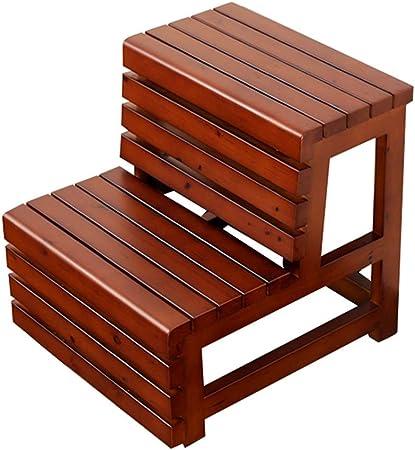 Taburete de 2 peldaños, taburete de cocina con escalera de madera para interiores taburete de madera multifuncional, taburete de seguridad para niños banco de zapatos antideslizante ZDDAB: Amazon.es: Hogar