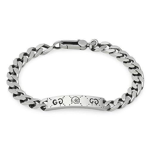 Gucci Pulsera plata con cadena de Problemas Andrew 19cm de la placa de  YBA455321001  Amazon.es  Ropa y accesorios 2ef3ec38167