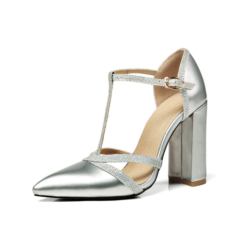 Gome-z Women's Glitter Heel Cloth T-Strap Chunky High Heel Glitter Shoes Woman Buckle up Summer Party Wedding Sandalss 34-47 B07CBT7T2C 7.5 B(M) US|Silver e38448