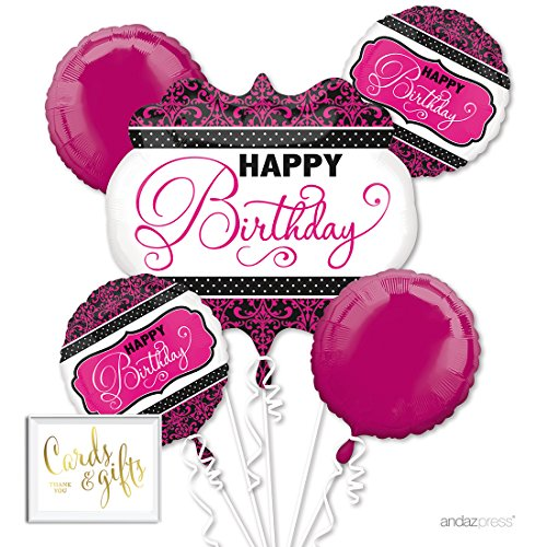Andaz Press Balloon Bouquet Party Kit with Gold Cards & Gifts Sign, Elegant Fuchsia Hot Pink and Black Birthday Scroll Foil Mylar Balloon Decorations, 1-Set (Scroll Birthday)