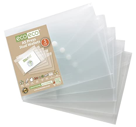 Archivadores transparentes de Eco-Eco, 5 unidades, 95% material reciclado, formato