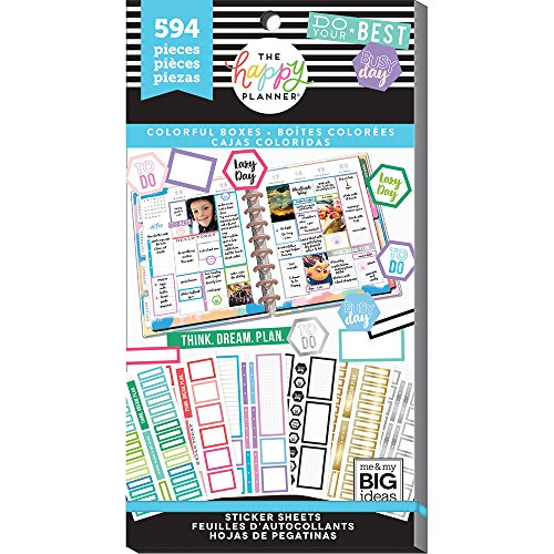 me & My Big Ideas PPSV-77-3048 The Happy Planner Value Pack Stickers-Colorful Boxes, Multicolor by Me & My Big Ideas