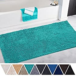 DEARTOWN Bath Mat Runner for Bathroom Rugs,Long Floor Mats,Extra Soft, Absorbent, Anti-Skid TPR Bottom,Machine-Washable, Perfect for Tub, Shower & Doormat(27.5X47 inch Turquoise)