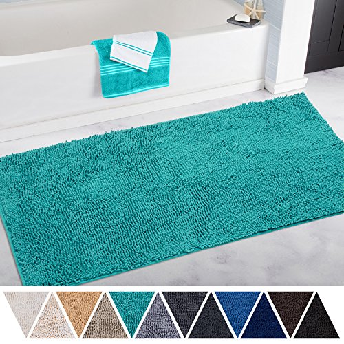 Bath Runner (DEARTOWN Non-Slip Thick Microfiber Bathroom Rugs, Machine-Washable Bath Mats with Water Absorbent (27.5x47 Inches, Turquoise))