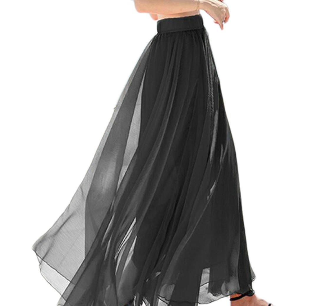 Pandapang Womens Swing Flared Elegant Pleated Solid Chiffon Long Skirts Black M