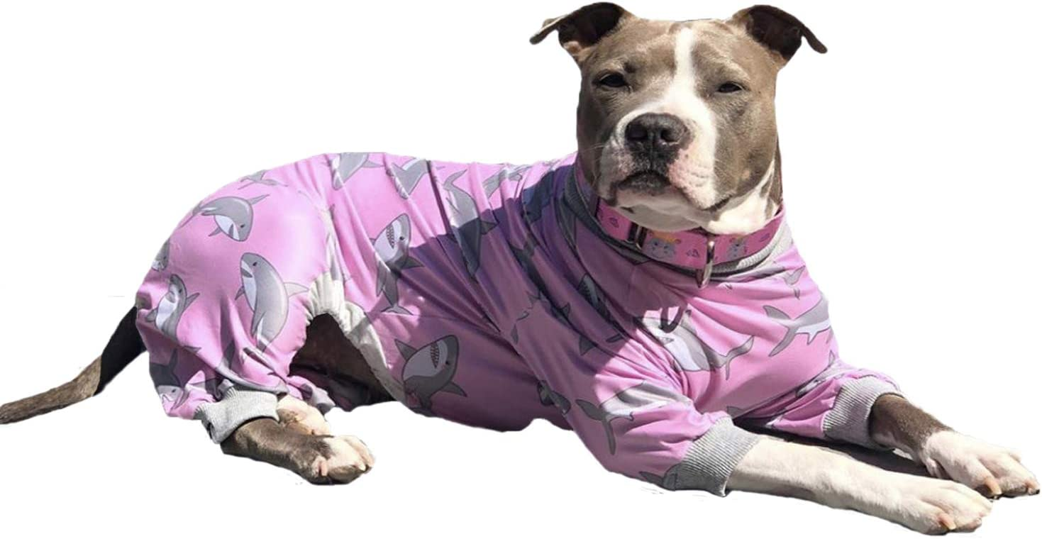 Tooth and Honey Pitbull Pajamas/Pink Shark Print Dog Onesie Jumpsuit/Lightweight Pullover Pajamas/Full Coverage Dog Pjs/Pink Color with Grey Trim