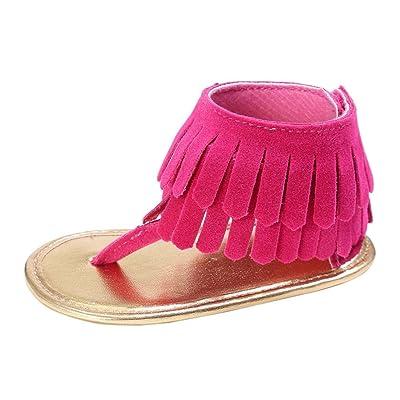 ????LuckyGirls Été Enfants Fille Garçons Sandales à Glands Chaussures de Berceau à Semelle Molle Anti-Dérapante Chaussures - Faux Cuir- 0~12 Mois