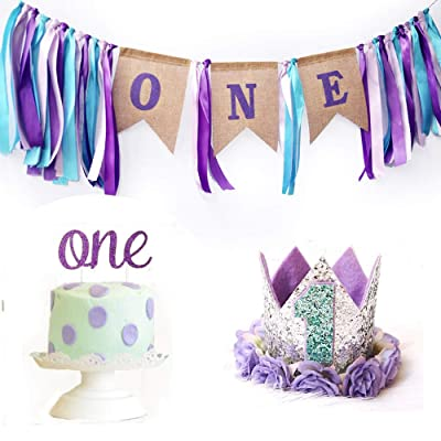 Mermaid Theme Purple First Birthday Party Supplies for Baby Girls - Purple High Chair Happy Birthday ONE Burlap Banner,Flower Glitter Sliver Princess Birthday Crown, Shiny Purple ONE Cake Topper: Toys & Games