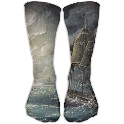 Crew Socks Ankle Support 30CM Low Cut Socks Ships On The Sea Print Ankle Compression Socks Foot Sleeve Unisex