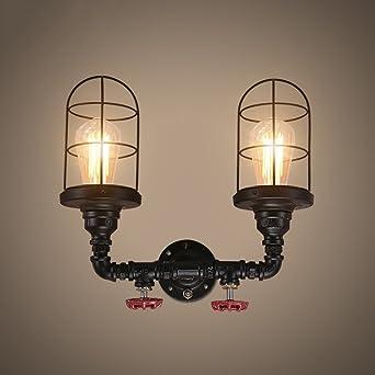 Murale Tête À Noire Tube En Double Applique Lampe Creux yY7bf6g