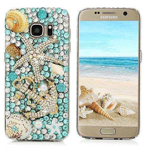 S7 Case,Samsung Galaxy S7 Case (Non-Edge) - Mavis's Diary 3D Handmade Blue Ocean Series Full Diamonds Bling Crystal Golden Anchor Starfish Cute Shells Design [Full Edge Protection] Clear Hard PC Cover