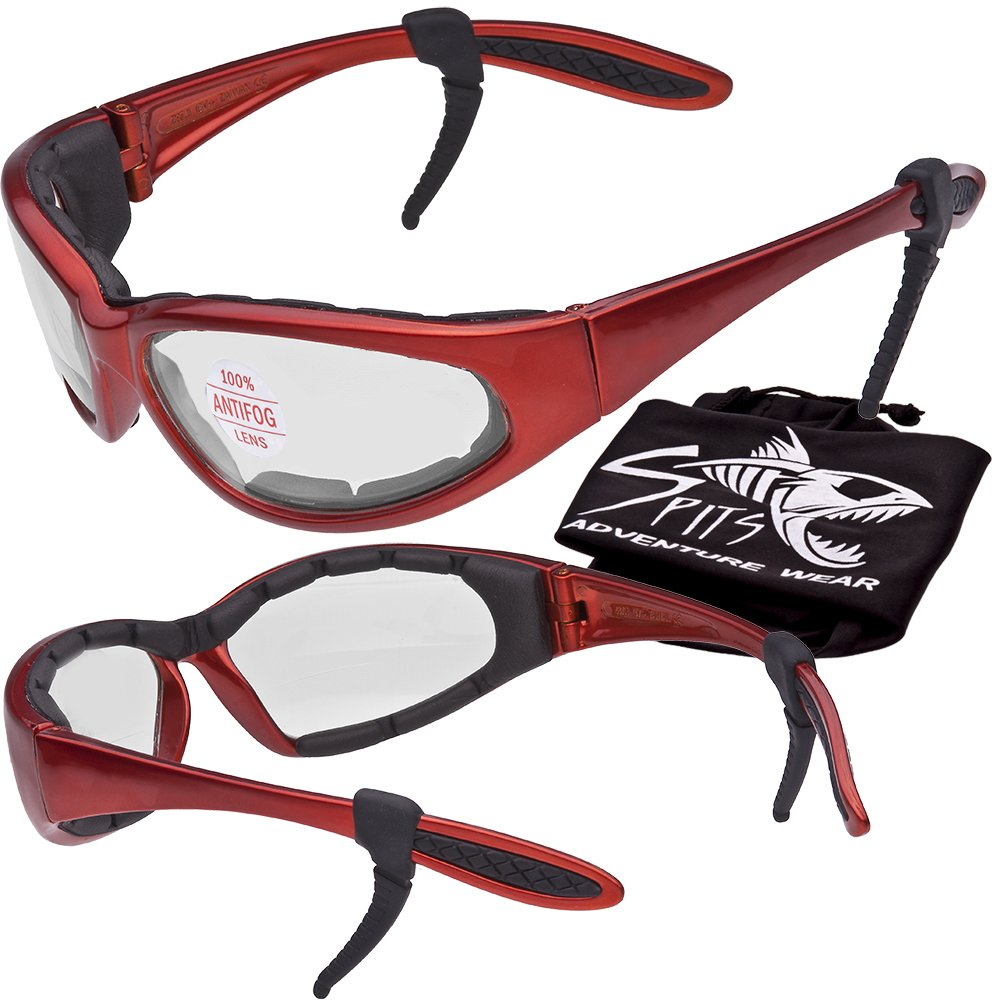 Hercules Safety Glasses ''Plus'' - Foam Padded - Rubber Ear Locks - ORANGE Frame - CLEAR Anti-Fog Lenses
