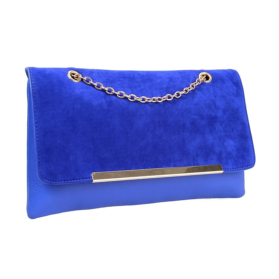 BMC Cute Navy Blue Faux Suede Leather Gold Metal Chain Accent Envelope Style Clutch Handbag