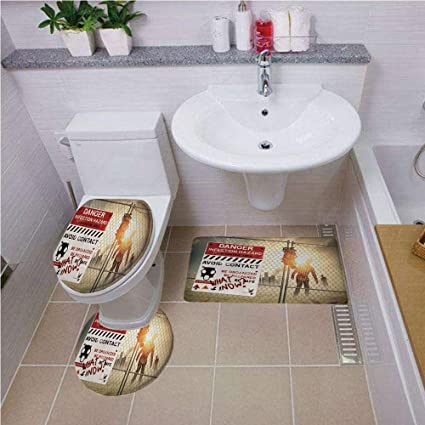 . Amazon com  Bath mat Set Round Shaped Toilet Mat Area Rug Toilet Lid