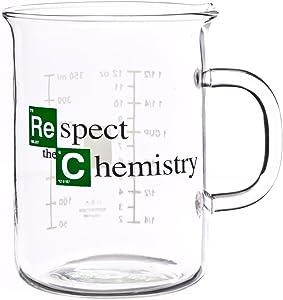 "Breaking Bad Mug – Beaker Coffee Mug – ""Respect the Chemistry"" Cool TV Props Breaking Bad Merchandise – Glass Breaking Bad Coffee Mug 12 oz (400mL)"