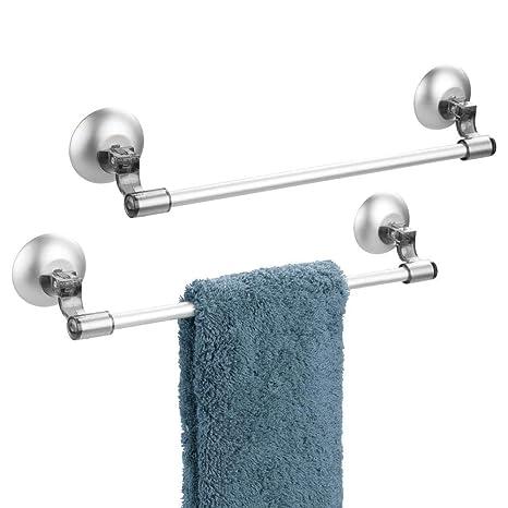 mDesign Juego de 2 toalleros de barra autoadhesivos – Práctico toallero con ventosas para toallas y
