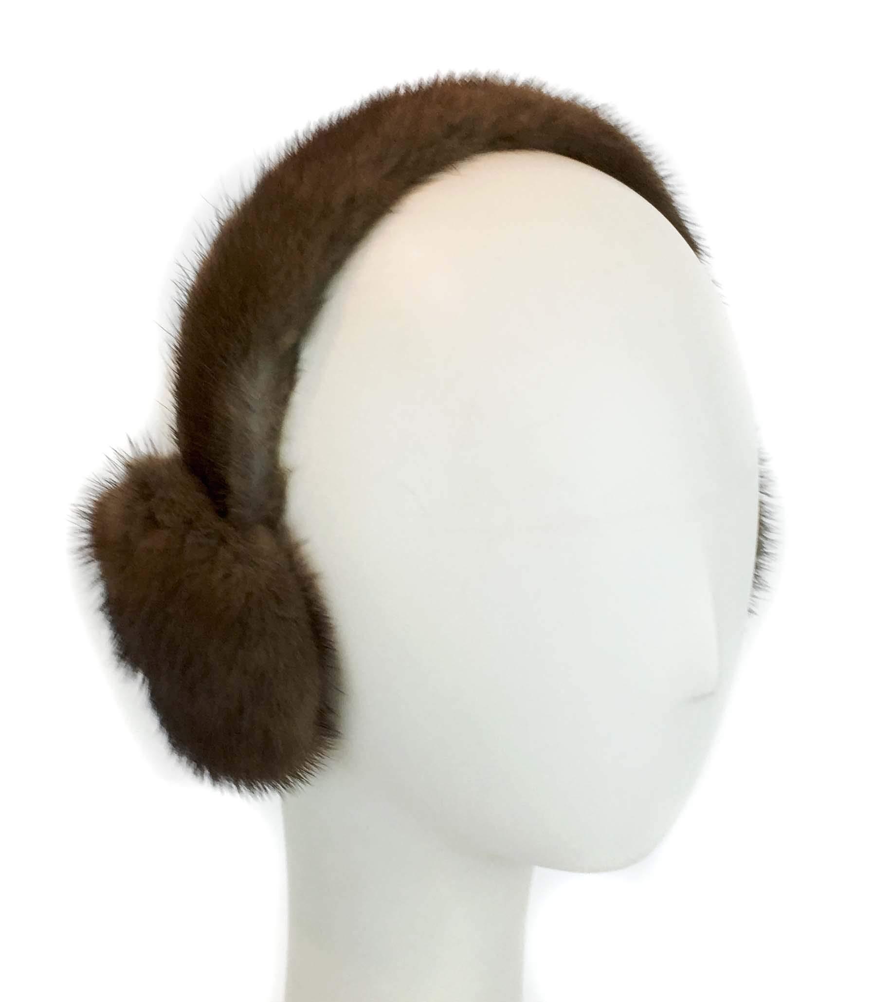 Surell Mink Earmuff with Fur Halo Band - Winter Ear Muffs - Cold Weather Fashion (Luna Brown)