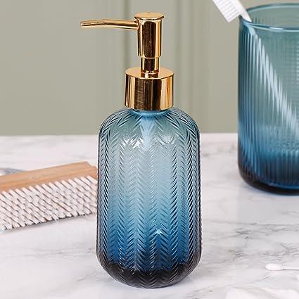 Retro de lujo azul y oro Chevron cristal líquido jabón y loción dispensador de jabón dispensador