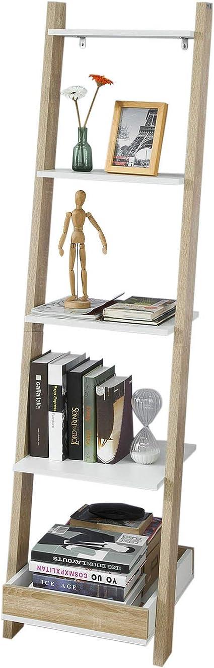 SoBuy Moderna Estantería Escalonada, Librería Escalera, Estantería de Pared, Estante de 4 Niveles y 1 Cajón, FRG229-WN,ES
