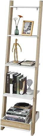SoBuy Moderna Estantería Escalonada, Librería Escalera, Estantería de Pared, Estante de 4 Niveles y 1 Cajón, FRG229-WN,ES: Amazon.es: Hogar