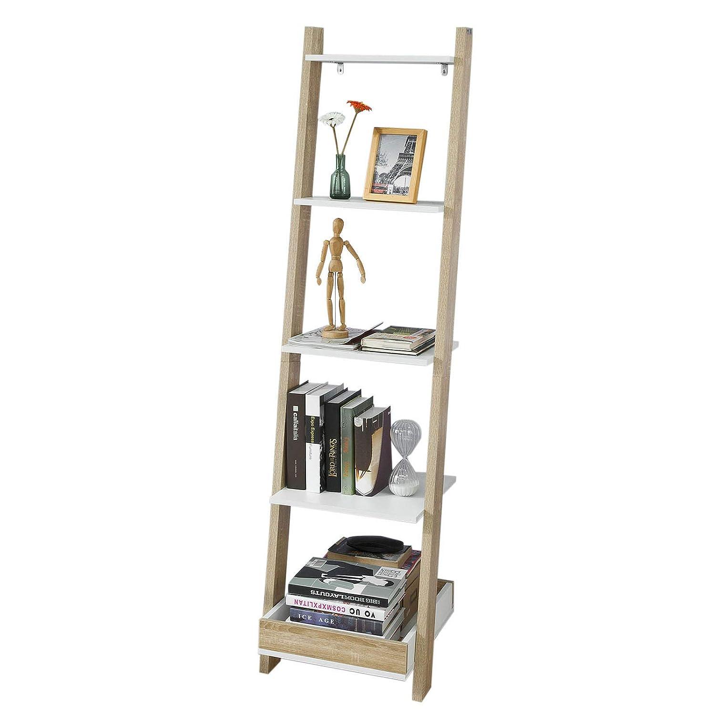 SoBuy Scaffale a Scala, Libreria,scaffale componibile da angolo, con 4 ripiani e 1 vassoio, FRG229-WN,IT