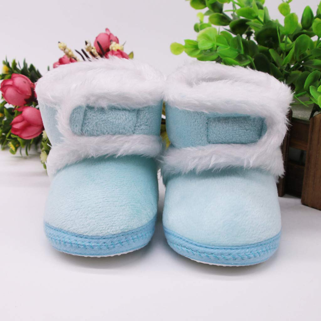 Infant Newborn Baby Girl Cashmere Plush Winter Boots Bandage Winter Warm Shoes T
