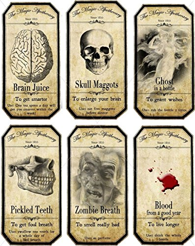 Halloween Steampunk apothecary bottle label stickers set 6 scrapbooking Voodoo New Orleans Halloween Wine Mardi Gras 6 bottle label stickers -