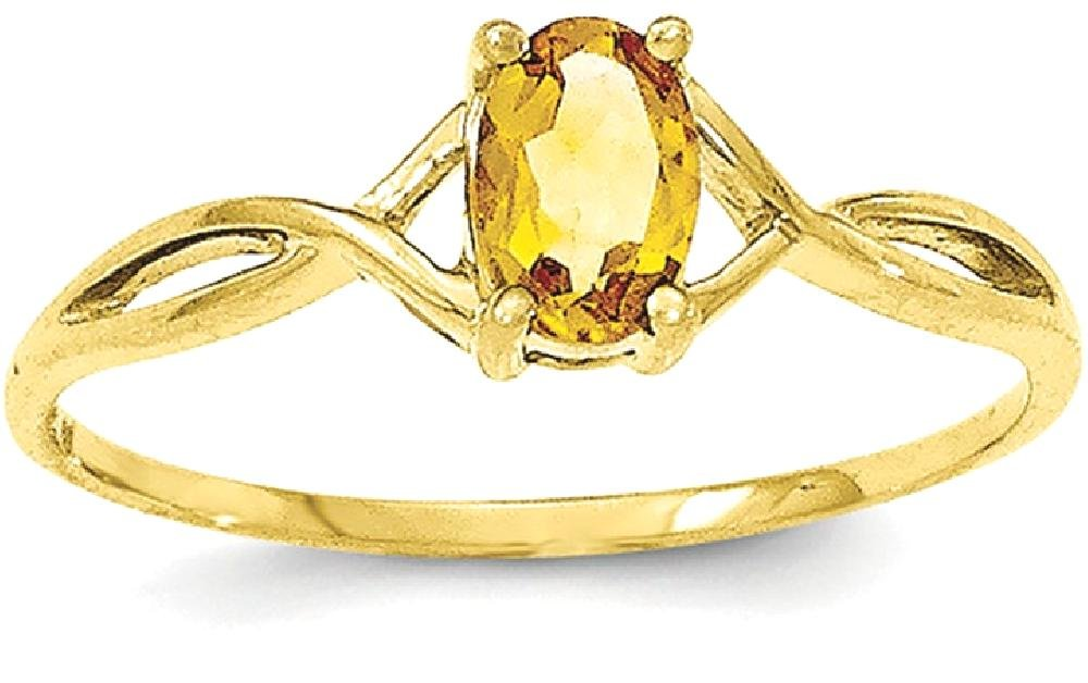 ICE CARATS 10k Yellow Gold Citrine Birthstone Band Ring Size 7.00 Stone November Oval Style Fine Jewelry Gift Set For Women Heart