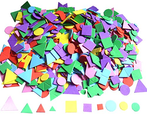 Bestartstore 298pcs 10~30mm Mixed Size/Mixed Color/Mixed Geometry Shape Self-adhesive EVA Foam Stickers for for Kid's Arts Craft Supplies Greeting Cards Home Decoration