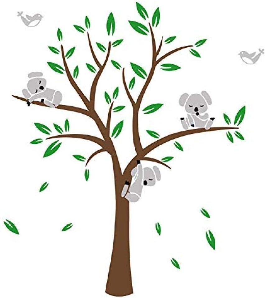 Adhesivo decorativo para pared, diseño de Koalas con 3 ramas de árbol de koalas, para habitación de niños