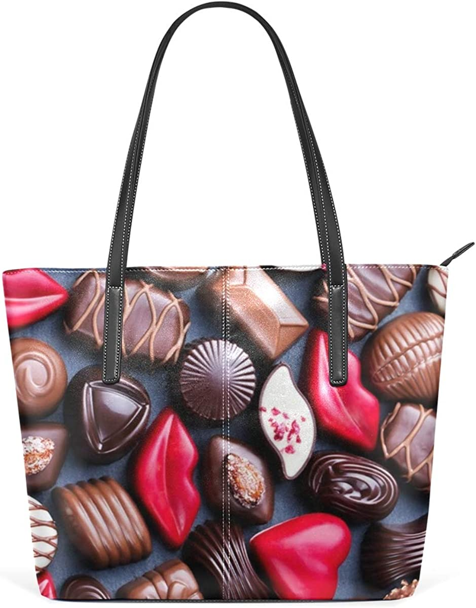 Womens Leather Tote Shoulder Bags Handbags with Dessert Chocolate