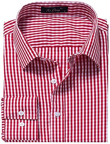 Plaid Dress Shirt - DOKKIA Men's Formal Business Plaid Checkered Button Down Long Sleeve Dress Shirts (Large, Red White)