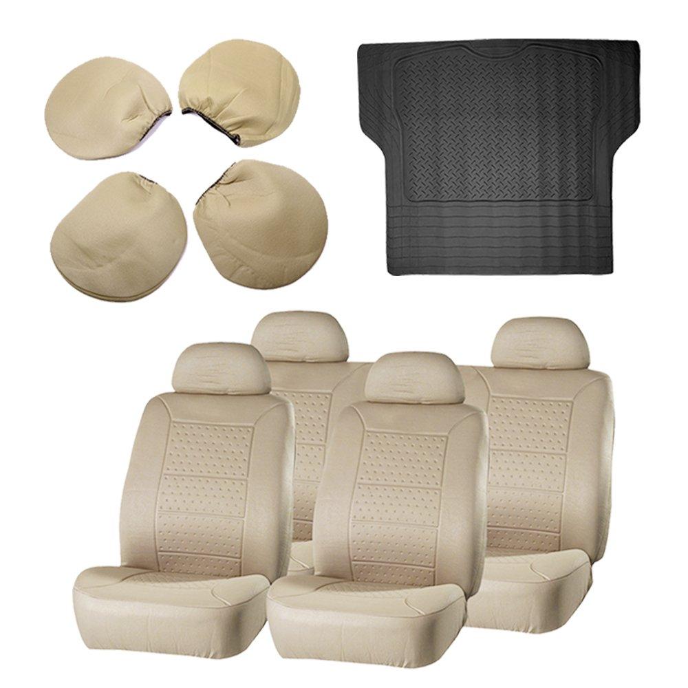 ECCPP Beige Car Seat Covers 1Pc Black Trunk Liner Floor Mat Breathable fit Heavy Duty Vans Trucks(9pcs)