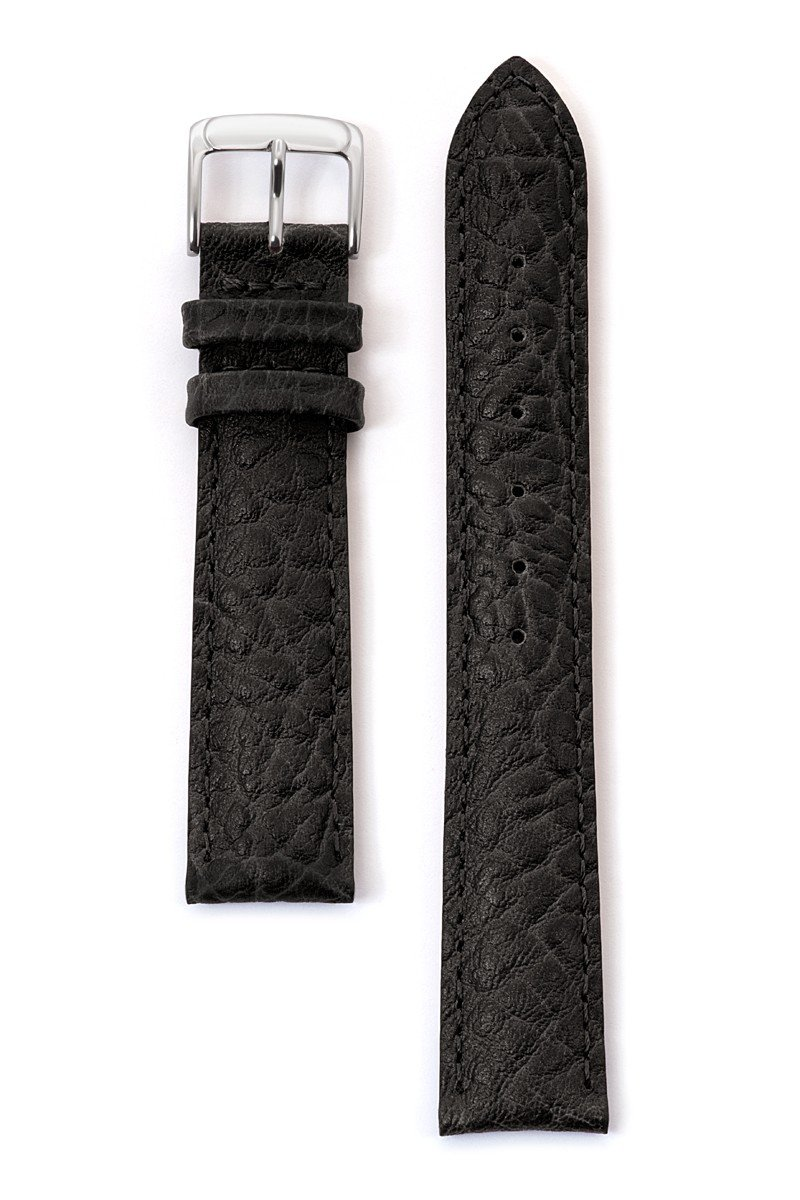 Speidel Genuine Leather Watch Band 19mm Black Cowhide Buffalo Grain Replacement Strap, Stainless Steel Metal Buckle Clasp, Watchband Fits Most Watch Brands