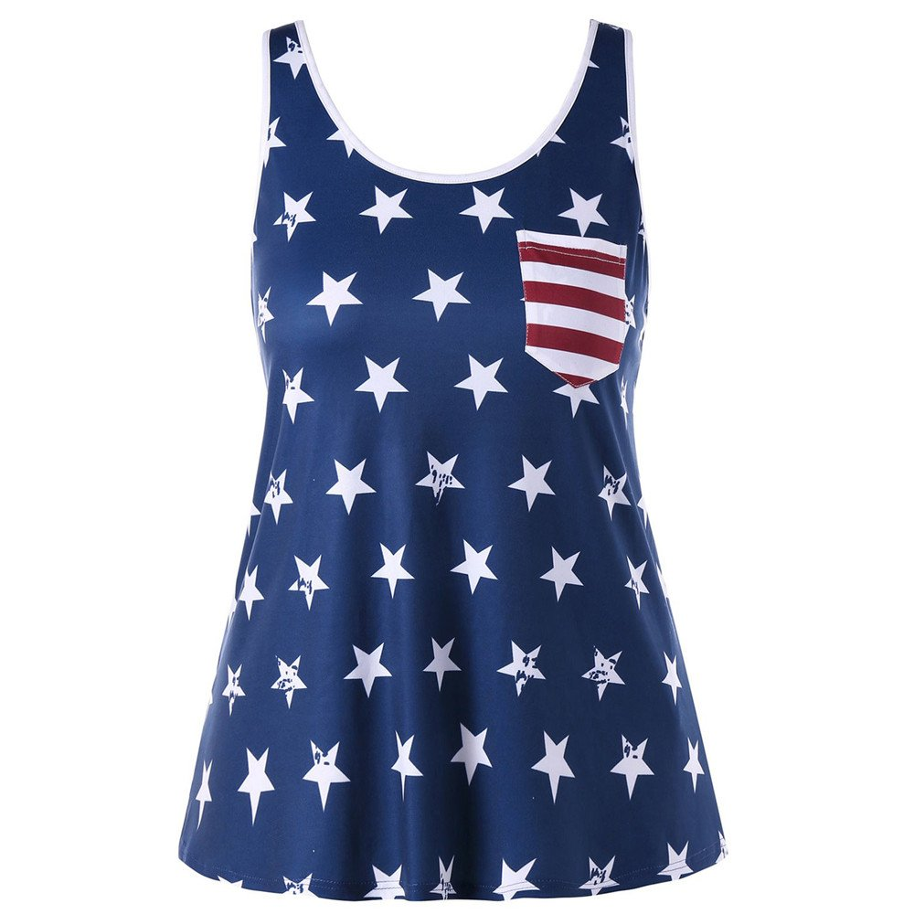 Tank Tops for Women Summer Shirts Casual Sleeveless Vest American Flag Top Stripes Star Blouse Vickyleb