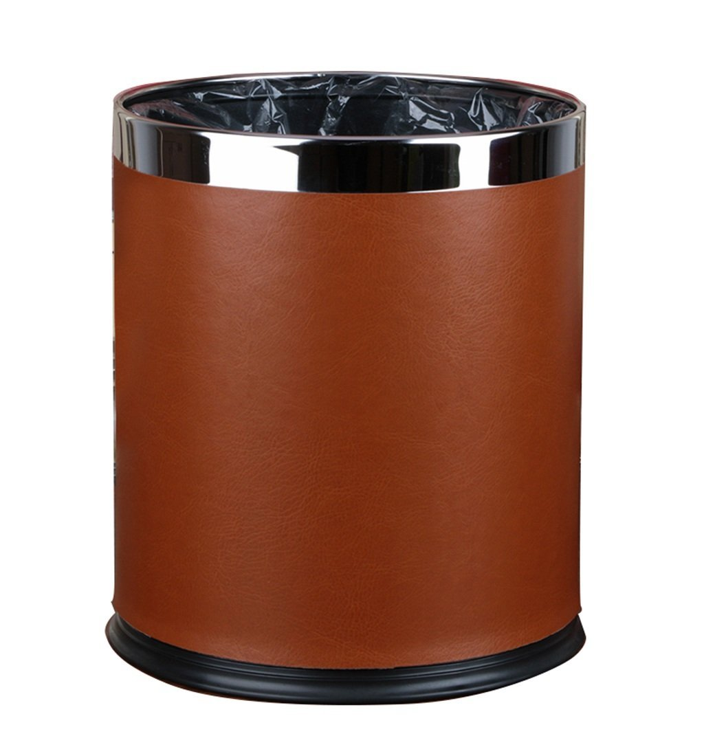 CSQ Without Cover Trash Can, Double Layer Stainless Steel Trash Can Household Creative Living Room Bedroom Kitchen Bathroom Hotel Office Trash Can 10L (Color : A)
